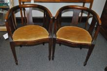 Pair of Italian wooden upholstered chairs,