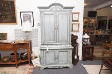 Modern armoire, blue painted with a pair of double doors