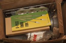 Box of assorted kitchen utensils