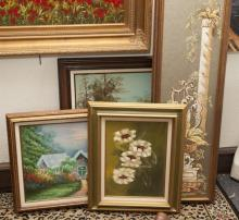 Group of four oil paintings including landscapes and architectural scenes.