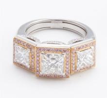 Hollmuller diamond three-stone platinum ring
