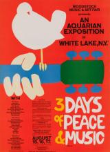 Arnold Skolnick, American (b. 1937), Woodstock, 1969, vintage concert poster, offset color lithograph, 24 x 18 inches