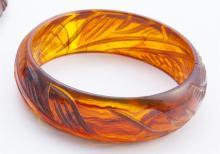 Carved bakelite bangle bracelet