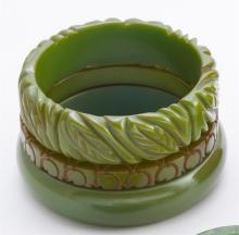 Green bakelite bangle bracelets