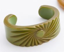 Carved bakelite cuff bracelet