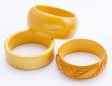 Collection of butterscotch bakelite bangles