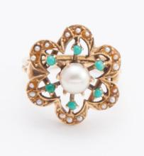 Turquoise, pearl, and gold ring