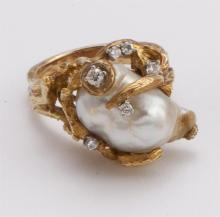Pearl, diamond, and gold ring