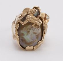 Jo Jennings gold and pearl, frog and lily pad ring