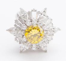 Irradiated yellow diamond and platinum ballerina ring/pendant
