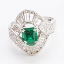 Vintage emerald, diamond and gold ring