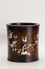 Hardwood Brush Pot with shell inlay