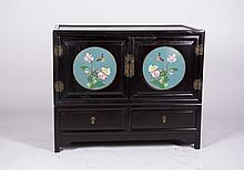 Hardwood small Cabinet with Cloisonne decoration