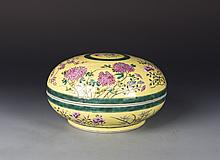 Chinese Famille Rose Porcelain Container with Lid
