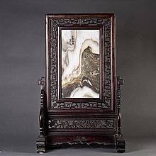 A Table Screen with Painting on Soapstone