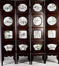 A Rosewood Four-panel Screen with Wood Frame