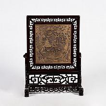 A Hardwood Table Screen of Figural Motif