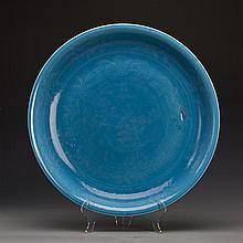 A Blue Glaze Porcelain Plate