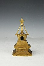 Tibetan Gilt Gold Bronze Buddha Pagoda