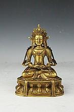 Tibetan Gilt Gold Bronze Buddha Statue
