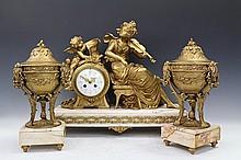French Gilt-Bronze Mantel Clock