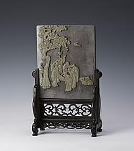 A QIYANG STONE TABLE SCREEN WITH WOOD STAND
