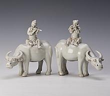 BLANC DE CHINE CATTLE SHEPHERD PAIR