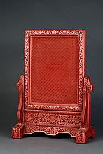 RED LACQUER PLAQUE TABLE SCREEN