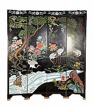 LACQUERED SCREEN WITH CRANES AND PINE TREES