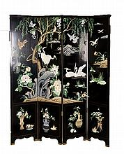 LACQUERED SCREEN WITH WHITE CRANES AND WILLOWS