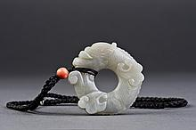 Biting Tail Dragon Jade Pendant