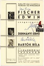 1937 concert program signed by Bela Bartok, Edwin Fischer and Erno Dohnanyi