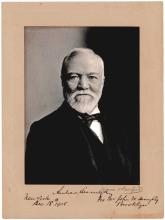 Handsome Andrew Carnegie signed photograph inscribed to a member of the Brooklyn Public Library Board