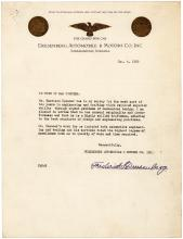 Typed letter signed by Frederick Duesenberg, co-founder of the Duesenberg Automobile & Motors Co., recommending an engineer