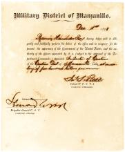 Rare 1898 document signed by Army officer Leonard Wood during the American occupation of Cuba