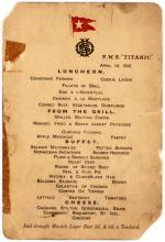 Extremely rare menu from the last lunch served aboard the Titanic from a survivor of the notorious Lifeboat No. 1