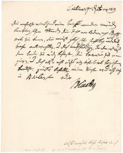 General Blucher autograph letter signed by Prussian hero of Waterloo