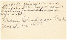 Carrie Chapman Catt autograph quotation signed by the U.S. Suffragette