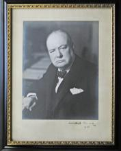 Winston Churchill oversize portrait photograph signed during WWII