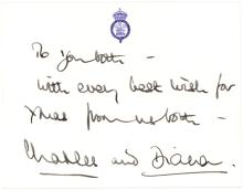 Prince Charles & Princess Diana Christmas card signed by both
