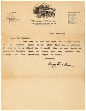Ring Lardner rare typed letter signed by the American humorist