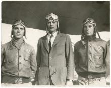 Charles Lindbergh 1929 photo with two Navy pilots signed by all 3