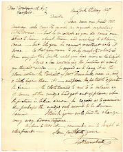 John Trumbull autograph letter signed about a portrait of his wife