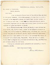 Lew Wallace typed letter signed mentioning his famous novel 'Ben Hur'