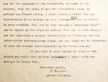 Albert Einstein typed letter signed about