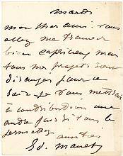 """Edouard Manet, French impressionist painter, autograph letter signed: """"All of my projects are in disarray"""""""