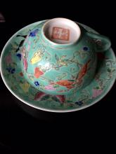 A Chinee porcelain cup with plate