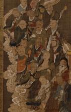 Asian Scroll Painting on Silk, 16 Figures