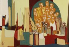 Arnold Weber,Am., Orange Faces, O/C