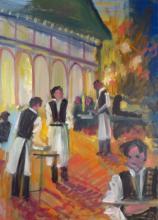 S. Rubel, La Brasserie, oil on canvas